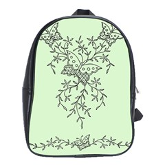 Illustration Of Butterflies And Flowers Ornament On Green Background School Bags (xl)  by BangZart