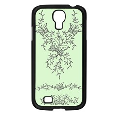 Illustration Of Butterflies And Flowers Ornament On Green Background Samsung Galaxy S4 I9500/ I9505 Case (black) by BangZart