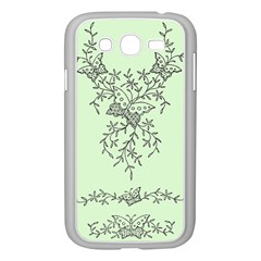 Illustration Of Butterflies And Flowers Ornament On Green Background Samsung Galaxy Grand Duos I9082 Case (white) by BangZart