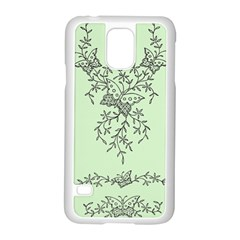 Illustration Of Butterflies And Flowers Ornament On Green Background Samsung Galaxy S5 Case (white) by BangZart