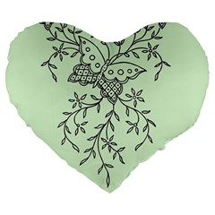 Illustration Of Butterflies And Flowers Ornament On Green Background Large 19  Premium Flano Heart Shape Cushions by BangZart