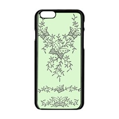 Illustration Of Butterflies And Flowers Ornament On Green Background Apple Iphone 6/6s Black Enamel Case by BangZart
