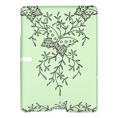 Illustration Of Butterflies And Flowers Ornament On Green Background Samsung Galaxy Tab S (10 5 ) Hardshell Case  by BangZart