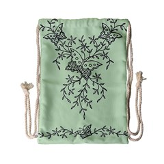 Illustration Of Butterflies And Flowers Ornament On Green Background Drawstring Bag (small) by BangZart