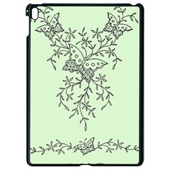 Illustration Of Butterflies And Flowers Ornament On Green Background Apple iPad Pro 9.7   Black Seamless Case by BangZart