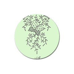 Illustration Of Butterflies And Flowers Ornament On Green Background Magnet 3  (round) by BangZart