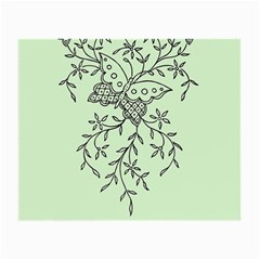 Illustration Of Butterflies And Flowers Ornament On Green Background Small Glasses Cloth by BangZart