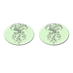 Illustration Of Butterflies And Flowers Ornament On Green Background Cufflinks (oval) by BangZart