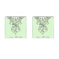 Illustration Of Butterflies And Flowers Ornament On Green Background Cufflinks (square) by BangZart