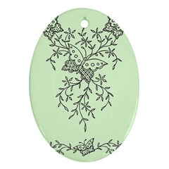 Illustration Of Butterflies And Flowers Ornament On Green Background Oval Ornament (two Sides) by BangZart