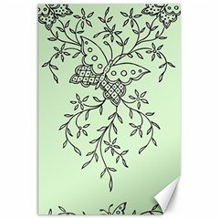 Illustration Of Butterflies And Flowers Ornament On Green Background Canvas 20  X 30   by BangZart