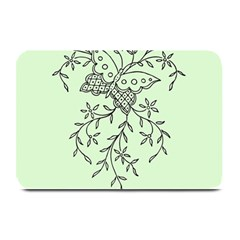 Illustration Of Butterflies And Flowers Ornament On Green Background Plate Mats by BangZart
