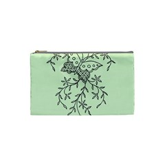 Illustration Of Butterflies And Flowers Ornament On Green Background Cosmetic Bag (small)  by BangZart
