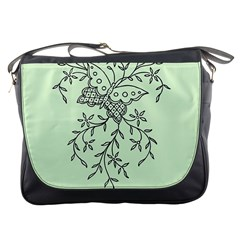 Illustration Of Butterflies And Flowers Ornament On Green Background Messenger Bags by BangZart
