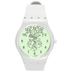 Illustration Of Butterflies And Flowers Ornament On Green Background Round Plastic Sport Watch (m) by BangZart