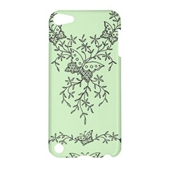 Illustration Of Butterflies And Flowers Ornament On Green Background Apple Ipod Touch 5 Hardshell Case by BangZart
