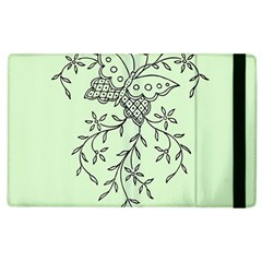 Illustration Of Butterflies And Flowers Ornament On Green Background Apple Ipad 2 Flip Case by BangZart