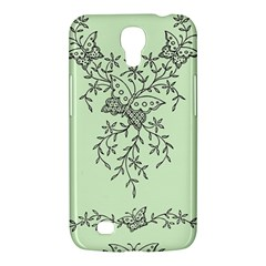 Illustration Of Butterflies And Flowers Ornament On Green Background Samsung Galaxy Mega 6 3  I9200 Hardshell Case by BangZart