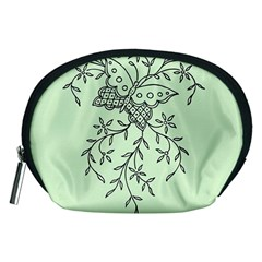 Illustration Of Butterflies And Flowers Ornament On Green Background Accessory Pouches (Medium)