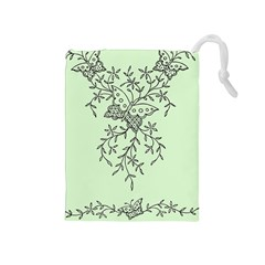Illustration Of Butterflies And Flowers Ornament On Green Background Drawstring Pouches (medium)  by BangZart