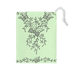 Illustration Of Butterflies And Flowers Ornament On Green Background Drawstring Pouches (large)  by BangZart