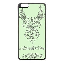 Illustration Of Butterflies And Flowers Ornament On Green Background Apple Iphone 6 Plus/6s Plus Black Enamel Case by BangZart