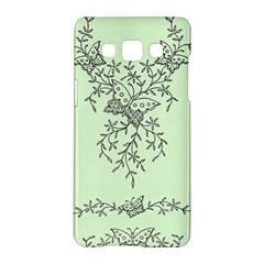 Illustration Of Butterflies And Flowers Ornament On Green Background Samsung Galaxy A5 Hardshell Case  by BangZart
