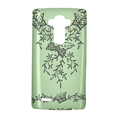 Illustration Of Butterflies And Flowers Ornament On Green Background Lg G4 Hardshell Case by BangZart