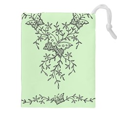 Illustration Of Butterflies And Flowers Ornament On Green Background Drawstring Pouches (xxl) by BangZart