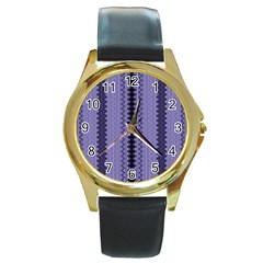 Zig Zag Repeat Pattern Round Gold Metal Watch by BangZart