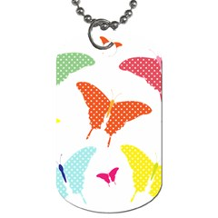 Beautiful Colorful Polka Dot Butterflies Clipart Dog Tag (one Side) by BangZart