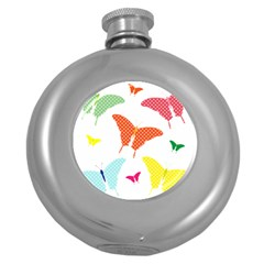 Beautiful Colorful Polka Dot Butterflies Clipart Round Hip Flask (5 Oz) by BangZart