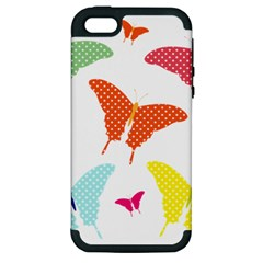Beautiful Colorful Polka Dot Butterflies Clipart Apple Iphone 5 Hardshell Case (pc+silicone) by BangZart