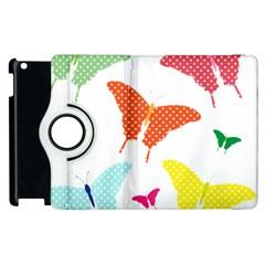 Beautiful Colorful Polka Dot Butterflies Clipart Apple Ipad 2 Flip 360 Case by BangZart