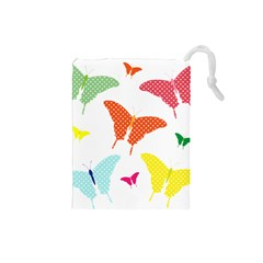 Beautiful Colorful Polka Dot Butterflies Clipart Drawstring Pouches (small)  by BangZart