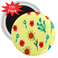 Flowers Fabric Design 3  Magnets (100 Pack) by BangZart