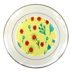 Flowers Fabric Design Porcelain Plates by BangZart