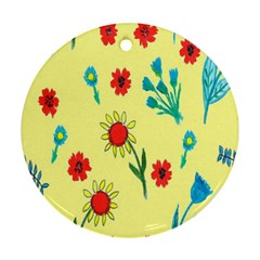 Flowers Fabric Design Round Ornament (two Sides) by BangZart