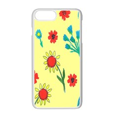 Flowers Fabric Design Apple Iphone 7 Plus White Seamless Case by BangZart