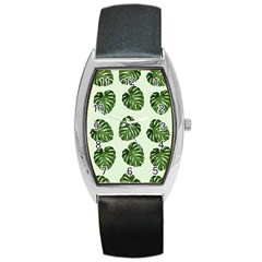 Leaf Pattern Seamless Background Barrel Style Metal Watch by BangZart