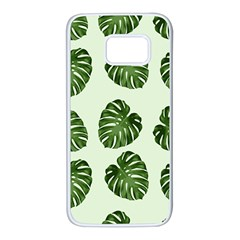 Leaf Pattern Seamless Background Samsung Galaxy S7 White Seamless Case by BangZart