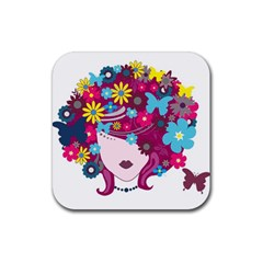 Beautiful Gothic Woman With Flowers And Butterflies Hair Clipart Rubber Square Coaster (4 Pack)  by BangZart