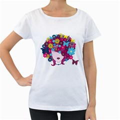 Beautiful Gothic Woman With Flowers And Butterflies Hair Clipart Women s Loose Fit T Shirt (white) by BangZart