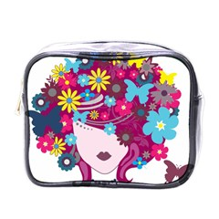 Beautiful Gothic Woman With Flowers And Butterflies Hair Clipart Mini Toiletries Bags by BangZart