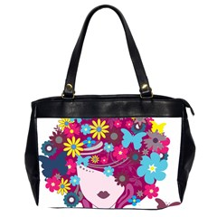 Beautiful Gothic Woman With Flowers And Butterflies Hair Clipart Office Handbags (2 Sides)  by BangZart