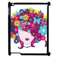 Beautiful Gothic Woman With Flowers And Butterflies Hair Clipart Apple Ipad 2 Case (black) by BangZart