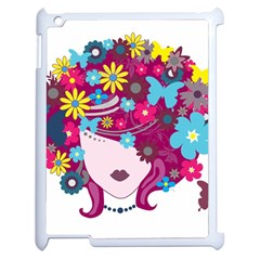 Beautiful Gothic Woman With Flowers And Butterflies Hair Clipart Apple Ipad 2 Case (white) by BangZart