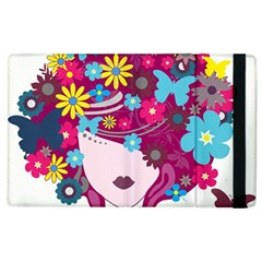 Beautiful Gothic Woman With Flowers And Butterflies Hair Clipart Apple Ipad 3/4 Flip Case by BangZart