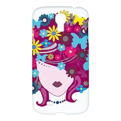 Beautiful Gothic Woman With Flowers And Butterflies Hair Clipart Samsung Galaxy S4 I9500/i9505 Hardshell Case by BangZart