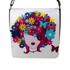 Beautiful Gothic Woman With Flowers And Butterflies Hair Clipart Flap Messenger Bag (l)  by BangZart